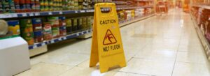 Picture of a wet floor sign in a store