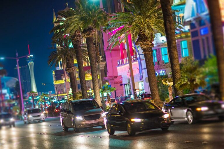 Image shows a busy street in Las Vegas at night. This type area is very prone to pedestrian accidents