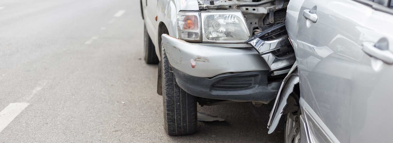 A picture of a rear end accident