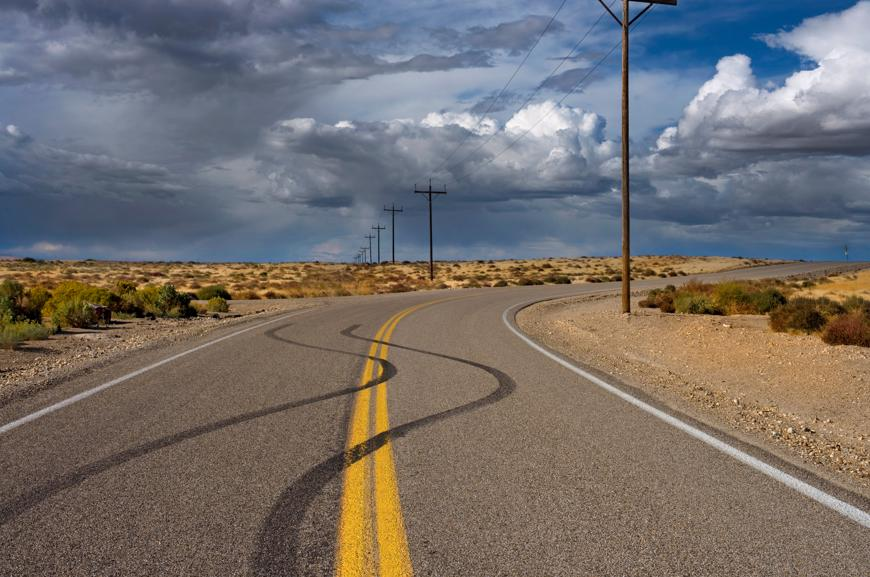 Tire marks on a highway in Carson City, Nevada.