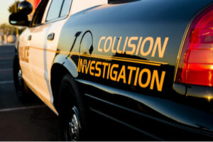 A close up of a police car that investigates traffic collisions