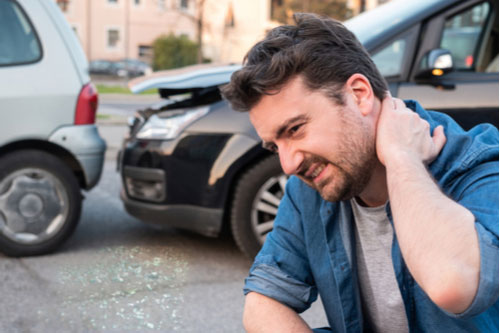 Man with neck pain after car accident